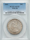 1841 50C Normal Date, WB-101, AU53 PCGS. Pleasing silver-gray color with subtle iridescence and nice remaining luster. L...