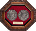 Militaria:Insignia, Pair of Framed Medals Commemorating the Defeat of Napoleon atWaterloo....