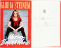 Books:Biography & Memoir, Gloria Steinem. INSCRIBED. Moving Beyond Words. Simon & Schuster, [1994]. First Edition. Inscribed by the author....