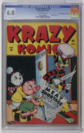 "Golden Age (1938-1955):Funny Animal, Krazy Komics #10 Davis Crippen (""D"" Copy) pedigree (Timely, 1943)CGC FN 6.0 Off-white pages. Super Baby story. This is the ..."