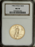 Modern Bullion Coins: , 1986 G$25 Half-Ounce Gold Eagle MS70 NGC. NGC Census: (107/0). PCGSPopulation (48/0). Mintage: 599,566. Numismedia Wsl. Pr...