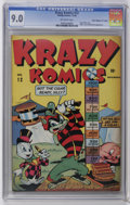"Golden Age (1938-1955):Funny Animal, Krazy Komics #12 Davis Crippen (""D"" Copy) pedigree (Timely, 1943)CGC VF/NM 9.0 Off-white pages. Super Baby story. Hitler, M..."