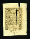 Colonial Notes:Rhode Island, Rhode Island May 1786 40s This is a very difficult note to grade asit is technically New but with a long tear that goes thr...