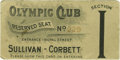Boxing Collectibles:Memorabilia, 1892 Sullivan vs. Corbett Full Ticket. This lot features the rare smaller version ticket to the Sullivan vs. Corbett fight ...