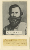 "Autographs:Military Figures, Confederate General JEB Stuart Autograph. A clipped signature with his (then) rank ""Col 1st Cav. C.S.A."" below. As with ..."