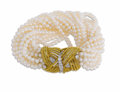 Estate Jewelry:Bracelets, Cultured Pearl, Diamond, Gold, Platinum Bracelet. The bracelet iscomposed of cultured pearls measuring 3.00 - 3.50 mm, fo...