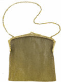 Estate Jewelry:Other , Sapphire, Gold Mesh Purse. Designed in 14k yellow gold, the ornate,pierced frame features sapphire cabochon terminals. Th...