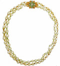 Estate Jewelry:Pearls, Cultured Pearl, Diamond, Peridot, Citrine, Gold Necklace. Thenecklace is composed of baroque South Sea cultured pearls an...