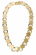 Estate Jewelry:Necklaces, Retro Gold Necklace. The 14k pink gold necklace is composed of alternating 'O' and diamond-shaped links. Circa 1940. Gross...