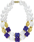Estate Jewelry:Necklaces, Frosted Rock Crystal Quartz, Lapis Lazuli, Gold Necklace, DavidWebb. The heavy double strand necklace features frosted ro...