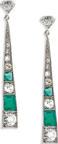 Estate Jewelry:Earrings, Diamond, Emerald, White Gold Earrings. The earrings featureEuropean-cut diamonds, enhanced by rectangle-shaped emeralds, ...
