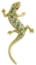 Estate Jewelry:Brooches - Pins, Diamond, Tsavorite Garnet, Ruby, Gold Brooch. The brooch, designed as a salamander, features full-cut diamonds weighing a ...