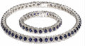 Estate Jewelry:Necklaces, Sapphire, Diamond, Platinum Jewelry Suite, Hammerman Brothers. Thesuite includes: a necklace featuring oval-shaped sapphi... (Total:2 Pieces)
