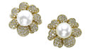 Estate Jewelry:Earrings, South Sea Cultured Pearl, Diamond, Gold Earrings. Each flowerearring is highlighted by one button-shaped South Sea cultur...