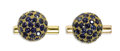 Estate Jewelry:Cufflinks, Sapphire, Gold Cuff Links, Van Cleef & Arpels. The domed cuff links feature round-cut sapphires, pave set in 18k yellow go...