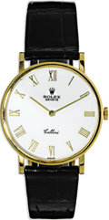 "Timepieces:Wristwatch, Rolex Men's Gold ""Cellini"" Leather Strap Wristwatch, Modern. Case: 31 mm, 18k yellow gold head, case No:5112 W088377 471 2..."