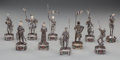 Silver Holloware, Continental, TEN GERMAN SILVER, BONE, HARDSTONE AND GLASS FIGURES, 20th century.Marks: 925, STERLING, GERMANY. 6-1/2 inches high (16...(Total: 10 Items)