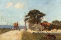 Fine Art - Painting, American:Antique  (Pre 1900), EDWARD EMERSON SIMMONS (American, 1852-1931). French Countrysidewith Figures and a Hay Wagon. Oil on panel. 5-3/4 x 8-1...
