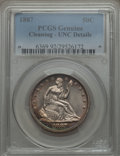 Seated Half Dollars, 1887 50C WB-101 -- Cleaned -- PCGS Genuine. Unc Details. Lustrous and semiprooflike with blue, lavender, and gold border to...