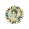 Estate Jewelry:Brooches - Pins, Victorian Diamond, Painted Portrait, Gold Pendant-Brooch. ...