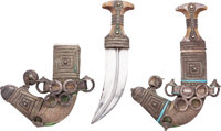 Matched Pair of Ornate Indo-Arab Jambiya Daggers With Figural Horsehead Scabbards