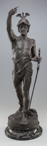 Sculpture, CONTINENTAL SCHOOL (19th Century). Si Vis Pacem, Para Bellum. Bronze . 29-1/2 inches (74.9 cm) high on a 3 inches (7.6 ...