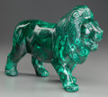 Decorative Arts, Continental, A CARVED AND POLISHED MALACHITE LION, 20th century. 8 x 10-1/2 x 4inches (20.3 x 26.7 x 10.2 cm). ...