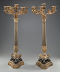 Decorative Arts, French, A PAIR OF EMPIRE-STYLE BRONZE, GILT BRONZE AND MARBLE SEVEN-LIGHTCANDELABRA. Maker unknown, mid 19th century. 33-1/4 x 13-1...