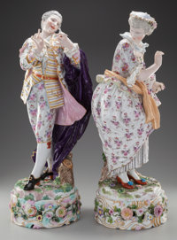 A LARGE PAIR OF MEISSEN PORCELAIN FIGURES ON STANDS, Meissen, Germany, 19th century Marks: (crossed swords), (aste