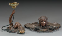 FRENCH ART NOUVEAU BRONZE FIGURAL CANDLESTICK AND AN INKWELL, circa 1900 6 inches high (15.2 cm) (candlestick)