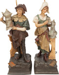 Decorative Arts, Continental, A PAIR OF GERMAN PAINTED METAL BIERKELLER FIGURAL LAMPS, 20thcentury. 41 inches high (104.1 cm) (male lamp). FROM THE EST...(Total: 2 Items)