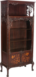 Furniture , FRENCH ART NOUVEAU MAHOGANY VITRINE CABINET, circa 1900. 69-1/2 x 31 x 14 inches (176.5 x 78.7 x 35.6 cm). PROPERTY FROM T...