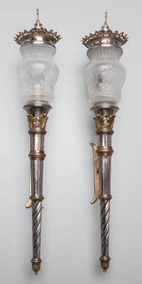 A PAIR OF CONTINENTAL SILVERED METAL AND GLASS TORCHÈRES, circa 1880 38 inches high (96.5 cm)