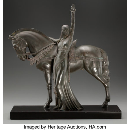 ART DECO EQUESTRIAN BRONZE AFTER MAX LE VERRIER 18-1/2 inches (47.0 cm) high on a 1 inch (2.5 cm) high marble base Stamped...