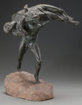 Bronze:European, FRENCH ART DECO BRONZE OF A FAUN AND NYMPH. Circa 1920,. 18 inches(15.2 cm) high on a 2 inches (5 cm) high base. ...