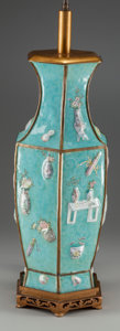 Asian:Chinese, A CHINESE PEKING ENAMEL HEXAGONAL VASE MOUNTED AS A LAMP. 33 inches high (83.8 cm). ...