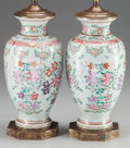 Decorative Arts, French, A PAIR OF SAMSON-STYLE PORCELAIN VASES MOUNTED AS TWO-LIGHT LAMPS,circa 1900. 22 inches high (55.9 cm). ... (Total: 2 Items)