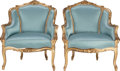 Furniture , A PAIR OF LOUIS XV-STYLE UPHOLSTERED GILT WOOD BERGÈRES, circa 1900. 33 x 27-1/2 x 18 inches (83.8 x 69.9 x 45.7 cm). ... (Total: 2 Items)