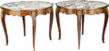 Furniture : French, A PAIR OF LOUIS XV-STYLE MAHOGANY, EXOTIC WOODS AND GILT BRONZE TABLES WITH MARBLE TOPS, 19th century. 30-1/8 inches high x ... (Total: 2 Items)