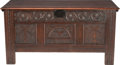 Furniture , AN ENGLISH PROVENCAL CARVED OAK BLANKET CHEST, 18th century and later. 24-1/2 x 48 x 20-5/8 inches (62.2 x 121.9 x 52.4 cm)...