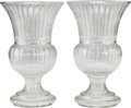 Decorative Arts, French, A LARGE PAIR OF BACCARAT-STYLE CUT-GLASS URNS, 20th century. 28-1/2inches high x 17-3/4 inches diameter (72.4 x 45.1 cm). ... (Total:2 Items)