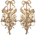 Decorative Arts, French:Lamps & Lighting, A PAIR OF EMPIRE-STYLE GILTWOOD FOUR-LIGHT SCONCES, 20th century.40-1/2 inches high (102.9 cm). ... (Total: 2 Items)