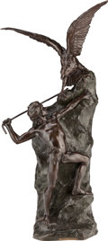 Sculpture, THEOPHILE FRANCOIS SOMME (French, 1871-1952). Denicheur D'Aigles. Bronze with brown patina. 49 inches (124.5 cm) high. I...
