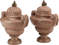 Decorative Arts, Continental, A PAIR OF ITALIAN NEOCLASSICAL GRANITE AND BRONZE COVERED URNS,20th century. 25 x 23-1/8 x 14-1/2 inches (63.5 x 58.7 x 36....(Total: 2 Items)