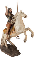 Decorative Arts, Continental, AN ITALIAN CARVED WOOD POLYCHROME AND PARCEL GILT ST. GEORGE ONHORSE BACK, circa 1800. 58-1/2 x 48 x 20 inches (148.6 x 121...(Total: 2 Items)