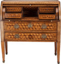 Furniture , A CONTINENTAL NEOCLASSICAL PARQUETRY AND BRASS ROLL-TOP SECRÉTAIRE A ABATTANT, 19th century. 42 x 39-1/2 x 19-1/4 inches (10...