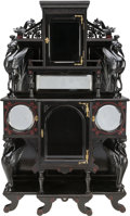 Furniture : English, A VICTORIAN AESTHETIC MOVEMENT EBONIZED AND POLYCHROME WOOD AND MIRRORED SIDE CABINET, circa 1870. 70 x 42 x 15 inches (177....