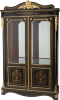 Furniture, A NAPOLEON III EBONIZED AND GILTWOOD VITRINE WITH GILT BRONZE MOUNTS AND BRASS BOULLE WORK, circa 1850. 80-1/2 x 47-1/4 x 16... (Total: 2 Items)