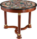 Furniture , AN EMPIRE-STYLE MAHOGANY AND GILT BRONZE TABLE WITH A SPECIMEN MARBLE GAMES TABLE TOP, 20th century. 28-1/2 x 35-1/2 inches ...