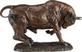 Fine Art - Sculpture, American:Modern (1900 - 1949), American School (20th Century). Bull. Bronze with brownpatina. 30 inches (76.2 cm) high. Inscribed on base: M...kom....